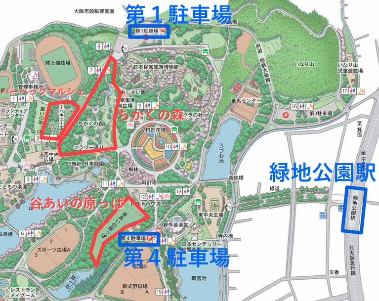 服部緑地 敷地内 マップ